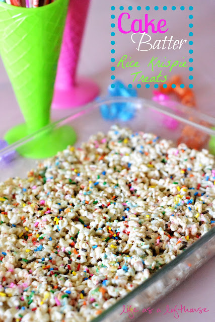 Cake Batter Rice Krispie Treats are filled with marshmallows, sprinkles and cake batter flavor. Life-in-the-Lofthouse.com