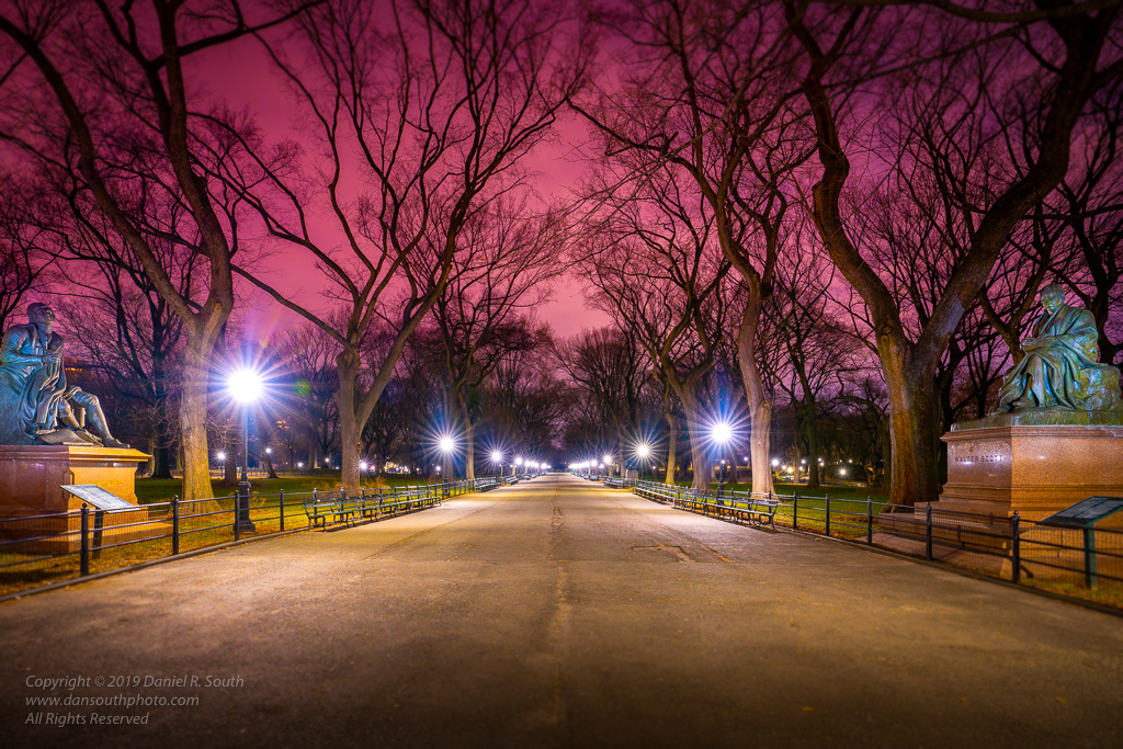 a photo of central park new york at night by daniel south