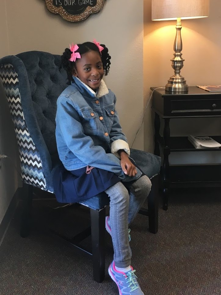 Image: little girl named Moriah Bell ready to start school after moving