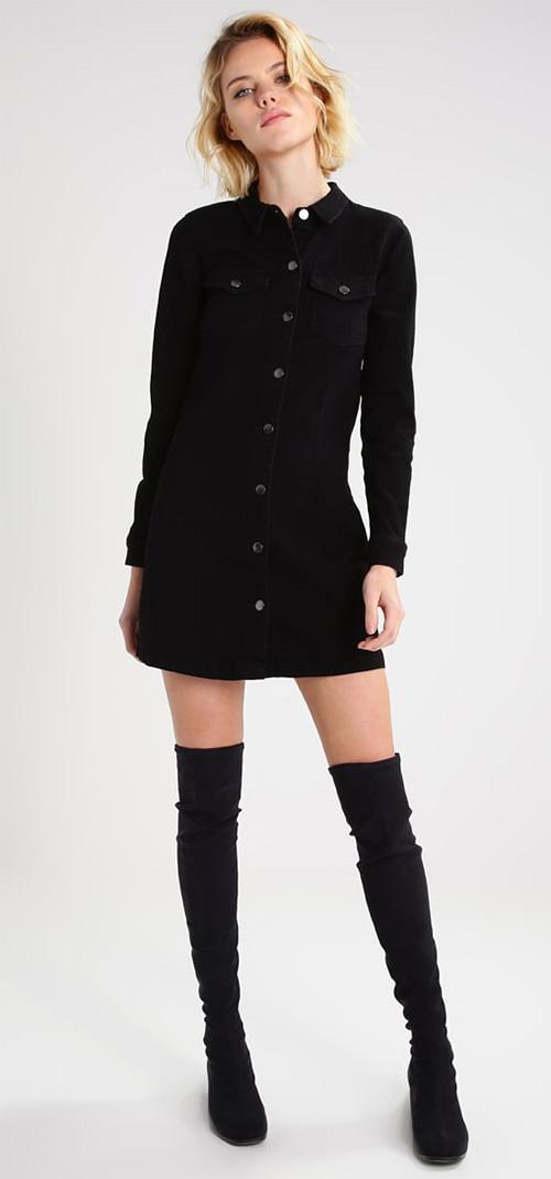 Robe courte cintrée noire en jean manches longues JDY