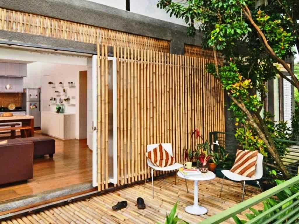 Desain Pagar Teras Dari Bambu