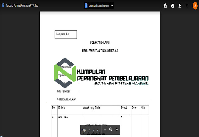 Format Penelitian Hasil PTK (Penelitian Tindakan Kelas) Format Word