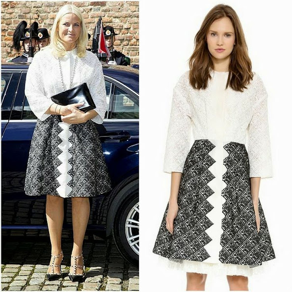 Crown Princess Mette Marit wears Giambattista Valli lace blouse and Print skirt