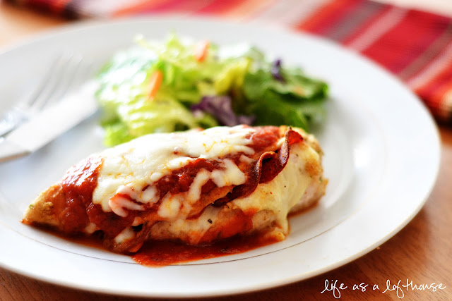 Chicken stuffed with turkey-pepperoni and a slice of mozzarella and coated in dried Italian bread crumbs. Life-in-the-Lofthouse.com