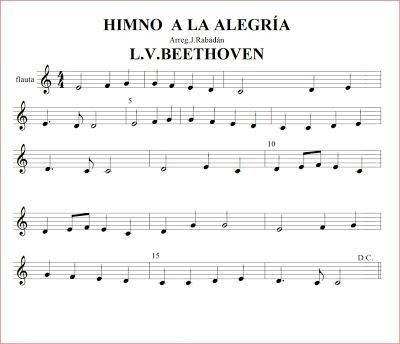 Resultado de imagen de himno dela alegría flauta notas do grave