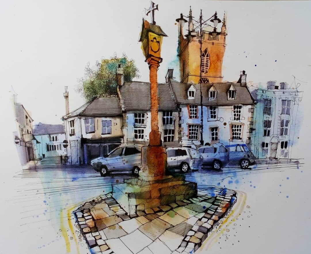11-Stow-on-the-Wold-Ian-Fennelly-Urban-Sketches-Colorfully-Painted-www-designstack-co