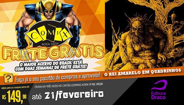 Frete grátis, imagem com o Wolverine e o Rei Amarelo em composição