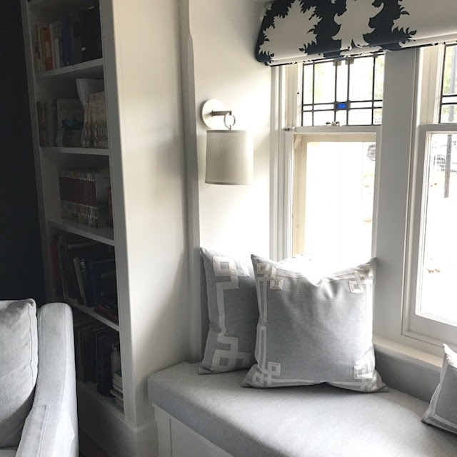 Window Seat In A Library That I Recently Completed The Cushions Were Custom With Applied Braid Walls Are Navy Blue Grasscloth Wallpaper Picks Up