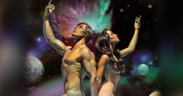 hombre y mujer desnudos canalizando la magia sexual cabalista del universo