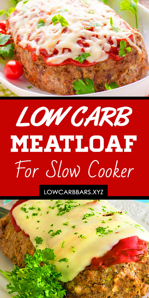 Low Carb Slow Cooker Meatloaf - This super easy keto slow cooker meatloaf recipe is not only low carb, but also delicious! The beef really up the flavor. Keto ground beef recipes, Low carb ground beef recipes, Healthy meatloaf, Paleo meatloaf, Gluten free meatloaf #ketorecipes #ketogenicdiet #keto #lowcarb #slowcooker #lowcarbmeatloaf #slowcookermeatloaf #beef