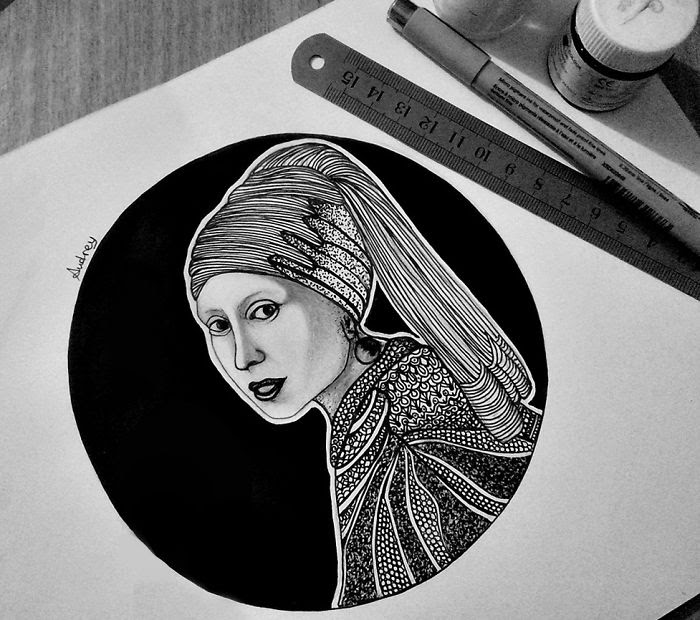02-Girl-With-a-Pearl-Earring-by-Johannes-Vermeer-Poonam-Saha-Zentangle-Old-Masters-and-Works-of-Art-Drawings-www-designstack-co