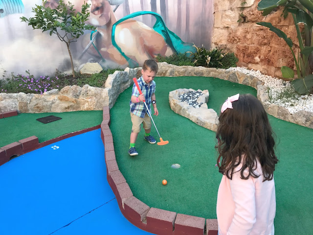 my chidren playing mini golf in santa ponsa