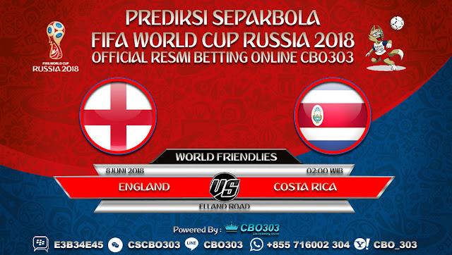 Prediksi Bola England VS Costa Rica 08 Juni 2018