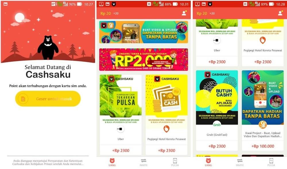 Cashsaku - Cara Mendapatkan Pulsa Gratis All Operator di Android