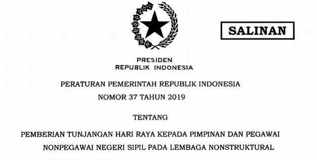 Pemberian THR Kepada Pimpinan dan Pegawai NON PNS pada Lembaga Nonstruktural (LNS)