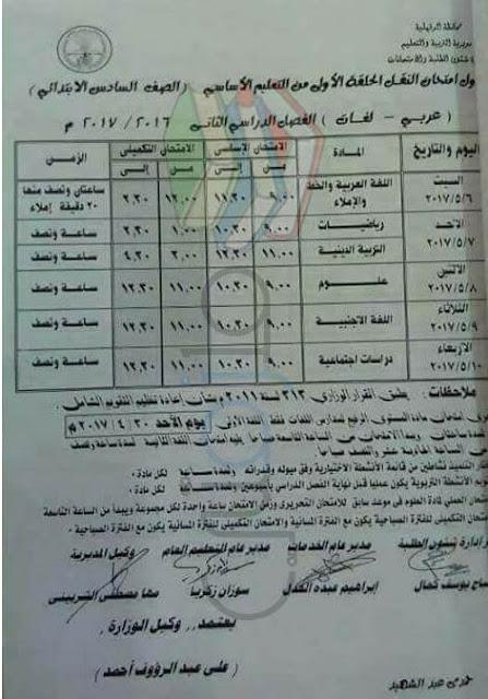 جدول امتحانات الصف السادس الابتدائي 2017 الترم الثاني محافظة الدقهلية