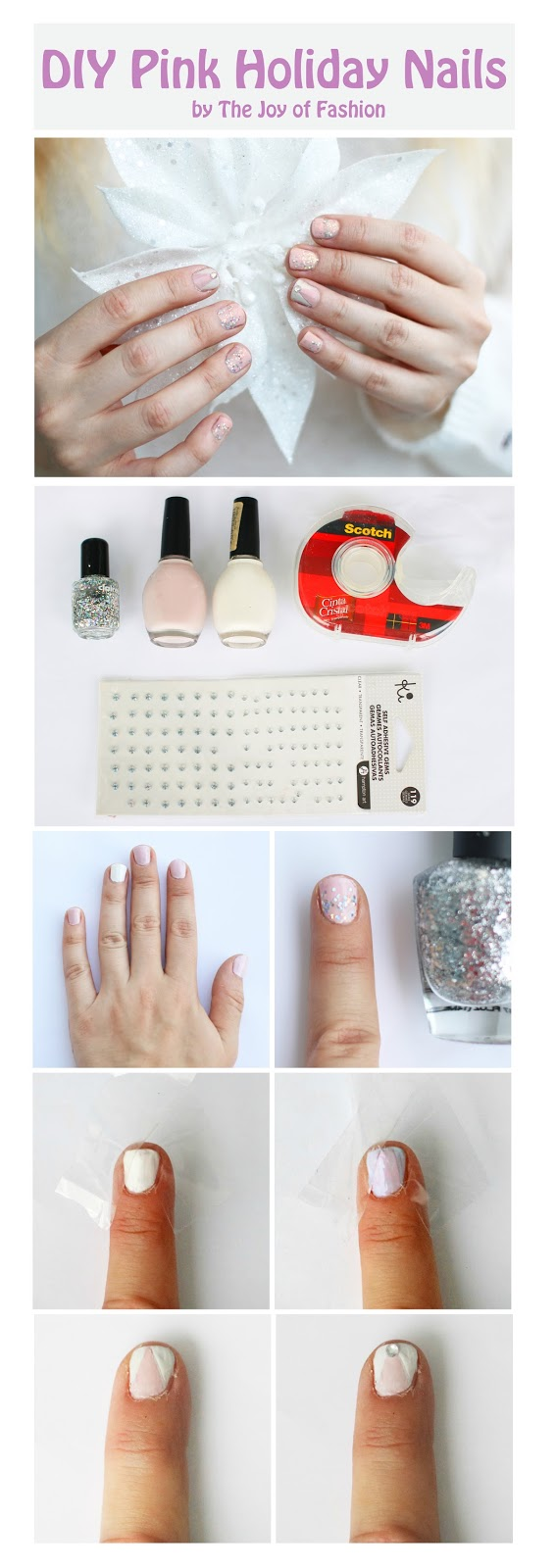 Easy and Cute pink Holiday nails tutorial