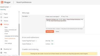 Cara mudah mengaktifkan SEARCH DESCRIPTION pada postingan blogger