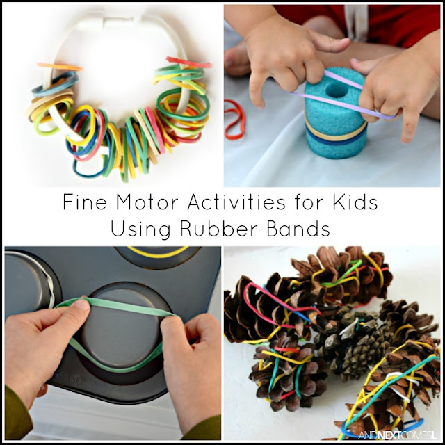 Fine motor activities for kids using rubber bands from And Next Comes L