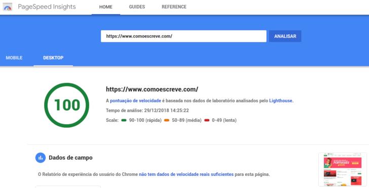 Teste de velocidade do blog - PageSpeed Google