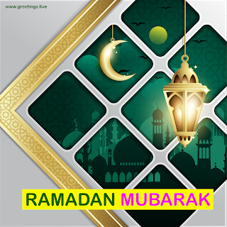 Ramadan Mubarak Image with Mosque, Ramadan lanterns, Crescent moon.