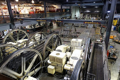 Image is of a large set of machines (think room-sized) with cables running between large wheels. In the background is a balcony with museum exhibits.