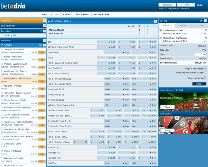 Betadria Live Betting Screen