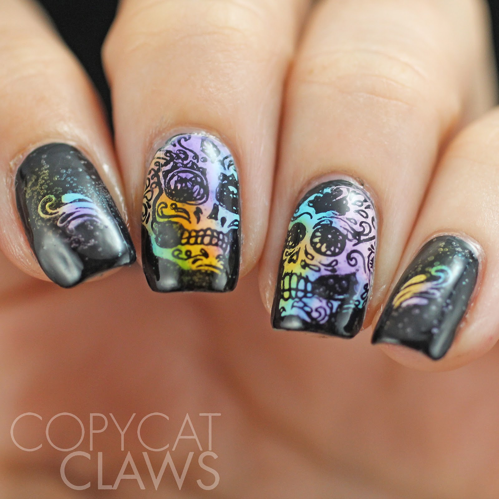 Copycat claws uberchic beauty sugar skulls 01 stamping plate review below is a scan of the sugar skulls plate that i received this plate has the regular uberchic beauty dimensions of 95 x 145 cm but it differs from the prinsesfo Image collections
