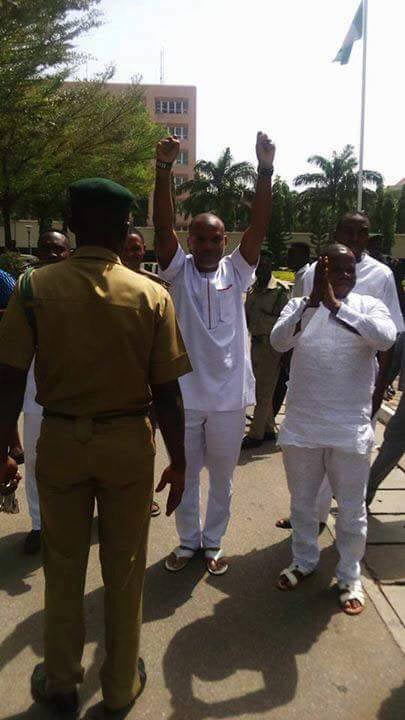 Nnamdi Kanu hails Biafran supporters at his bail hearing at Abuja Federal High Court