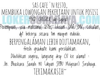 Lowongan Kerja di SAS Cafe and Resto Surabaya Terbaru Mei 2019