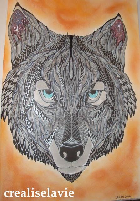 coloriage pour adulte antistress bestiaire hachette loup crayons de couleur Zenacolor Prismacolor