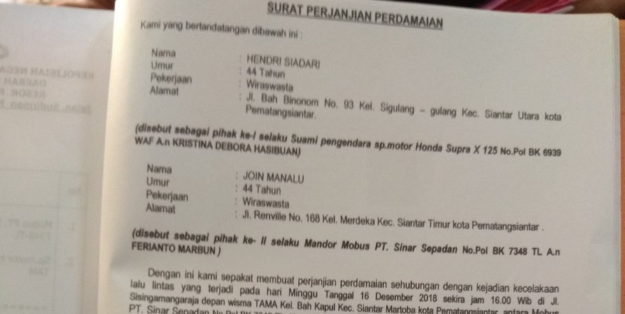 Surat Perjanjian Damai Lakalantas Di Siantar Diduga Dipalsukan Dailysatu Com