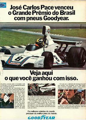 propaganda  pneus Good Year - 1975, José Carlos Pace 1975, pneus Good Year anos 70, Grande Prêmio do Brasil de 1975, corrida de formula um 1975, formula um anos 70, Oswaldo Hernandez,