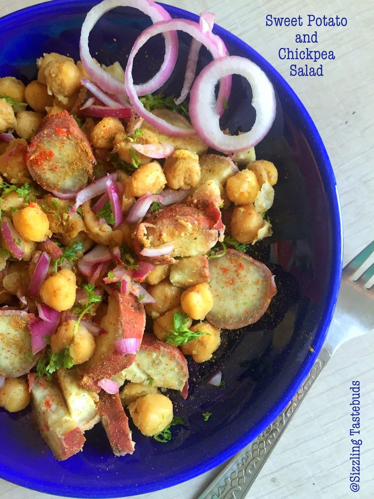 Sizzling Tastebuds Zero Oil Sweet Potato And Chickpea Salad