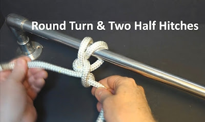 Tying a round turn and two half hitches knot