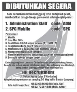 Lowongan Kerja ADMIN dan SPG Lampung (Maret 2016)