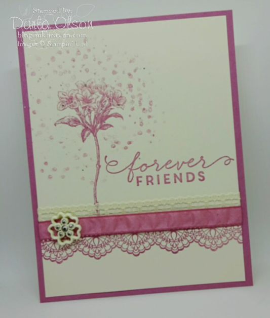 Handmade card created with Stampin' Up! Avant Garnden and Delicate Details shared by Darla Olson at inkheaven