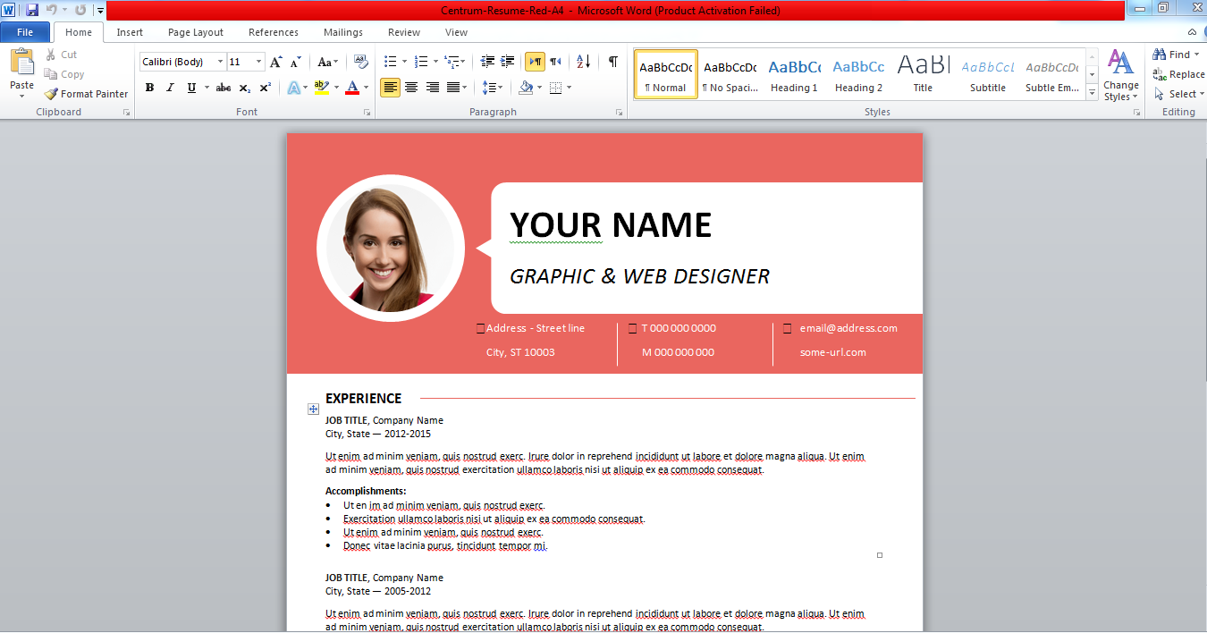 preparation cv word gratuit