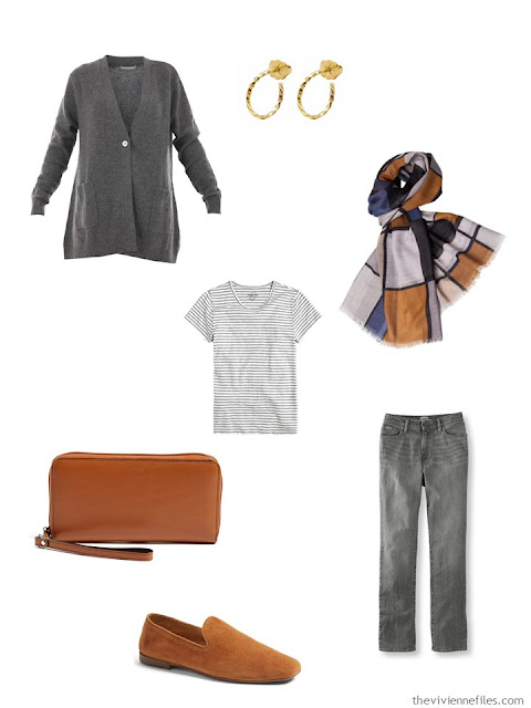 grey outfit with brown leather bag and shoes