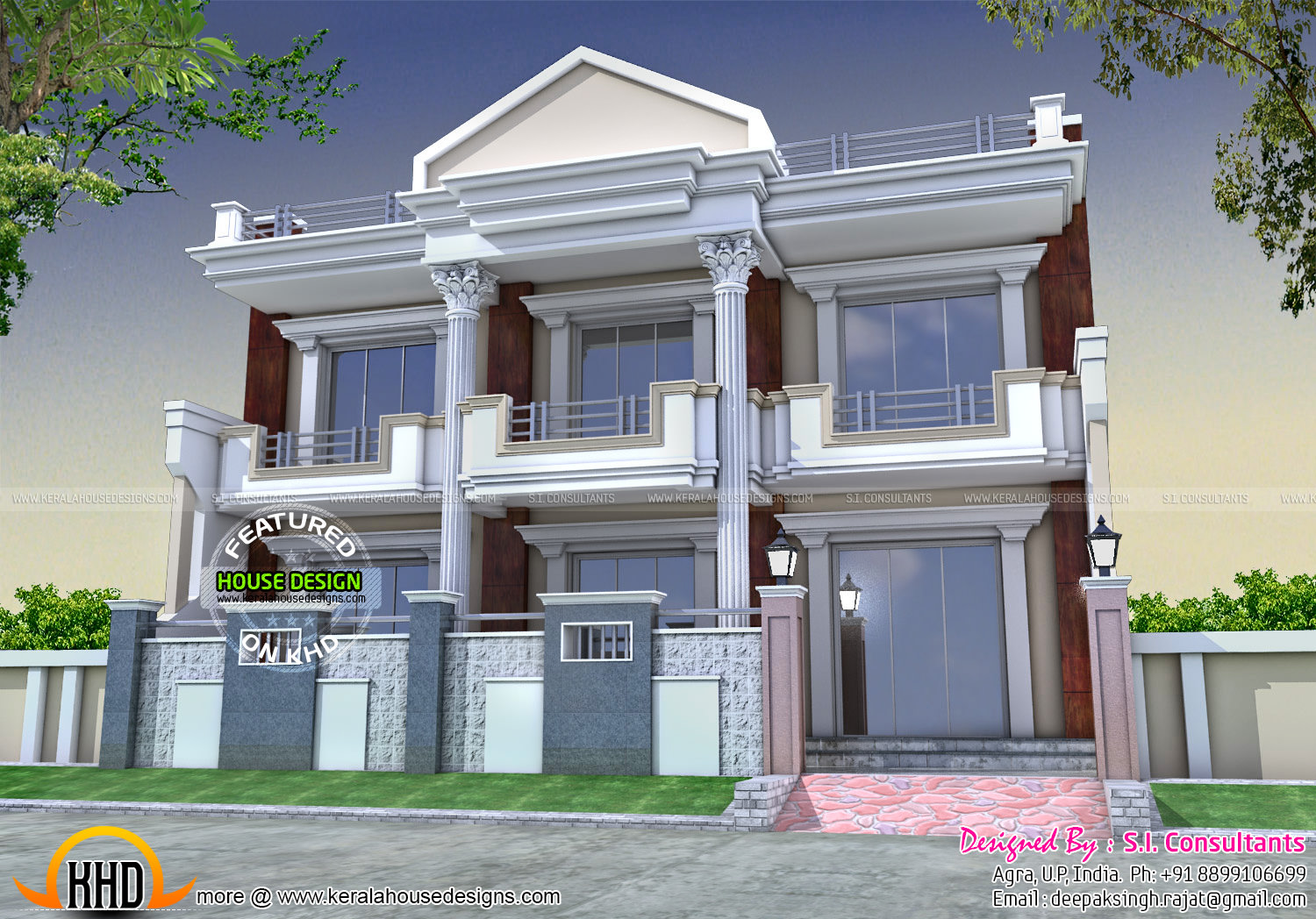 front home design. Long Front Pillar Home Design