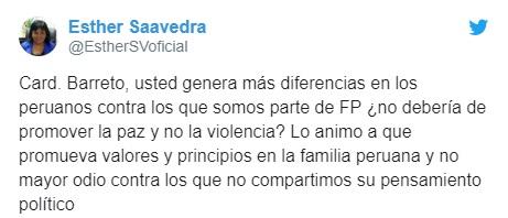 Twitter Esther Saavedra contra Barreto