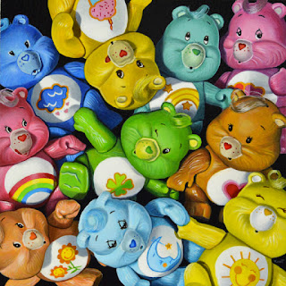 care bears 80s toys acrylic photorealism painting by artist kim testone