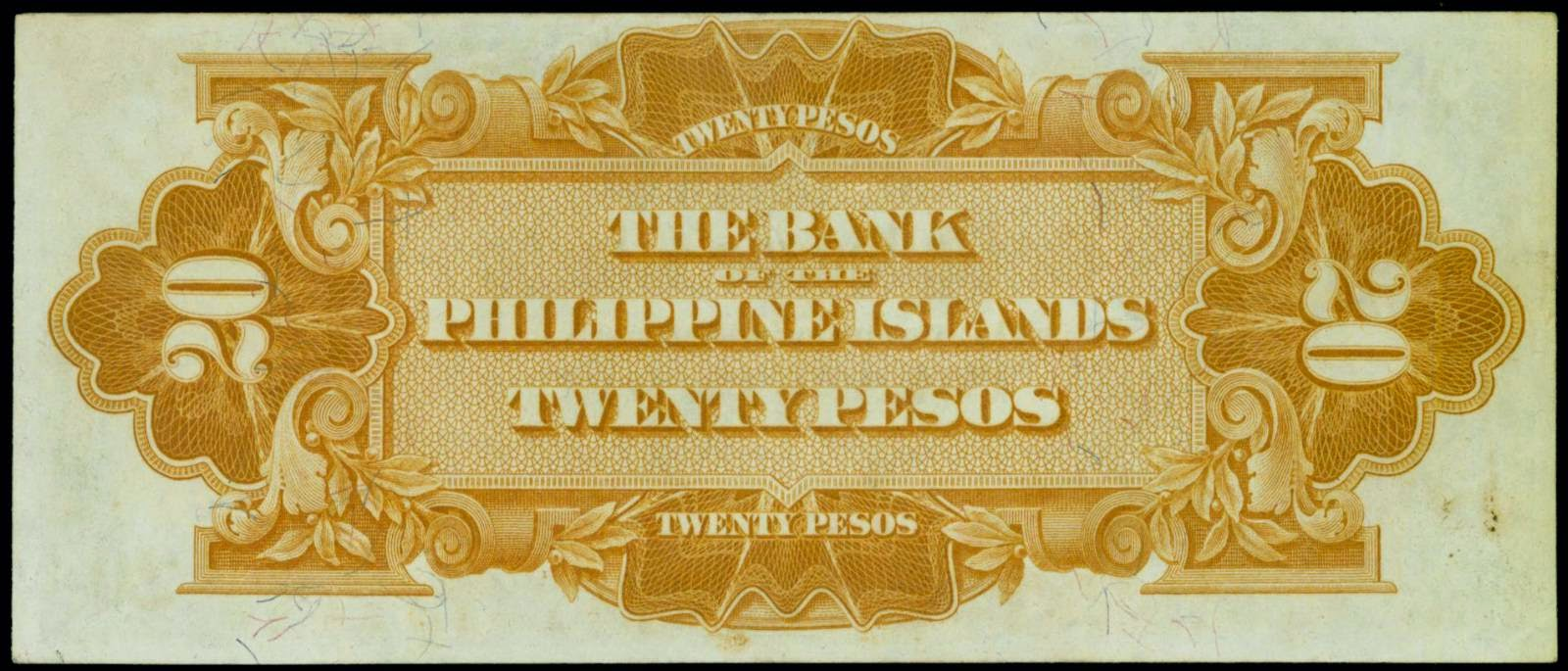 Philippines paper money 1912 Twenty Pesos bill