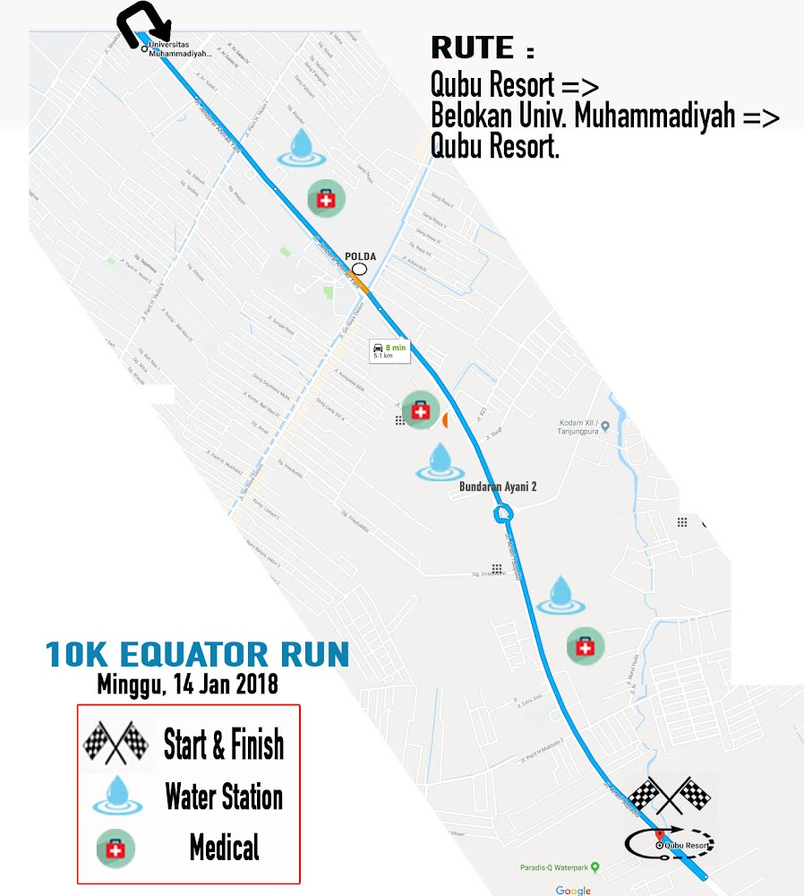 10K Equator Run • 2018 Route
