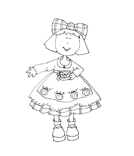 Free Dearie Dolls Digi Stamps: Autumn Girl with Tea
