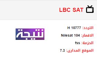 تردد قناة إل بي سي سات LBC Sat الجديد 2018 على النايل سات