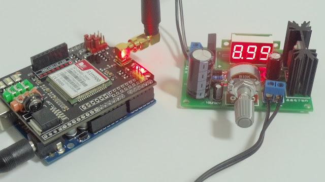 Módulo LM317 e Arduino Uno com GSM Shield