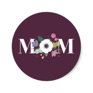 Gift Wrapping Ideas with Stickers - Floral Mom Mother's Day Sticker Plum