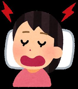いびきをかいて寝る人のイラスト(女性)