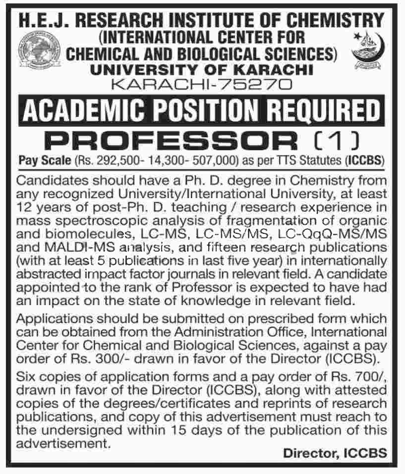 chemistry professor HEJ job in University Of Karachi 25 May 2017